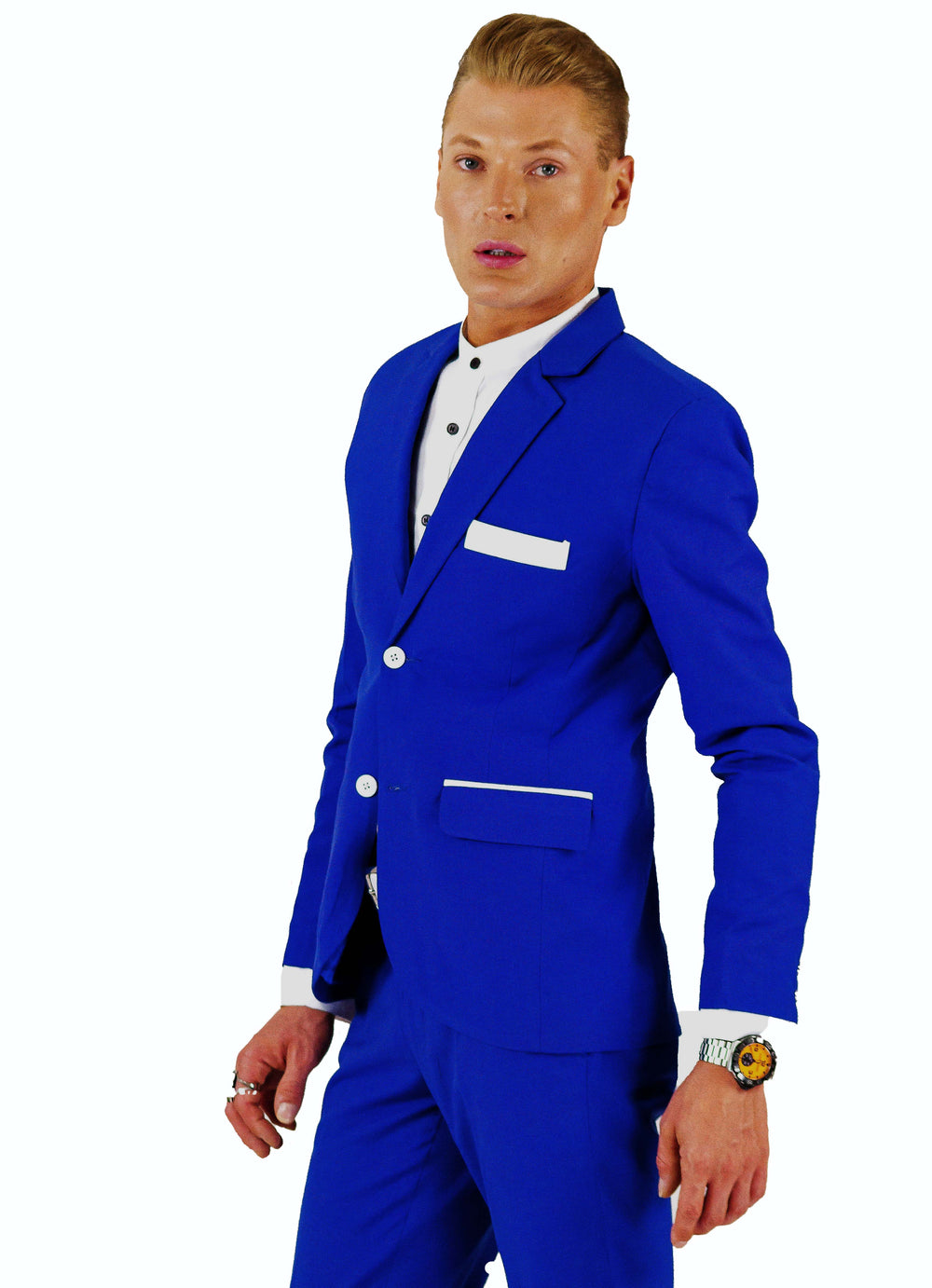 Blade Sleeve Suit | Jacket | Cobalt Blue & White Satin