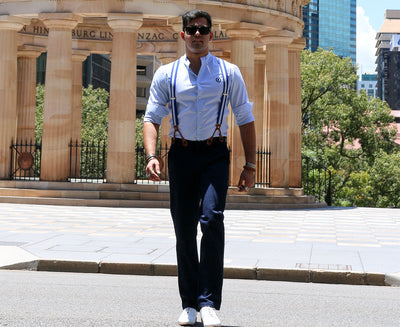 Suspenders & Pants | Dark Navy Blue | Blue & White Suspenders