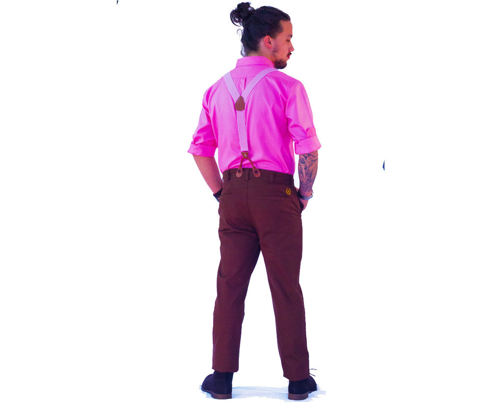 Suspenders & Pants | Dark Brown Pants | Flamingo Pink Suspenders