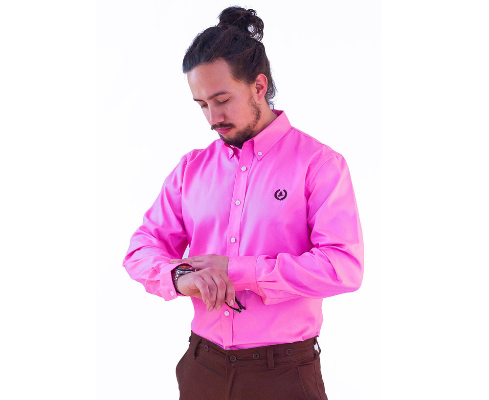 Oxford Button Down Business Shirt | Deep Pink