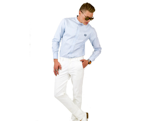 Collarless Business Shirt | Sky Blue