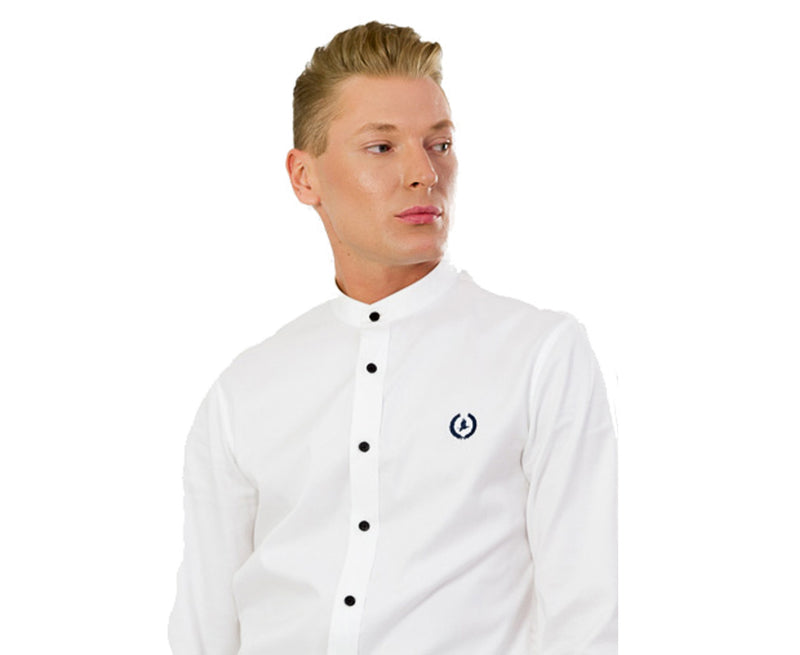 Collarless Business Shirt | Oxford White