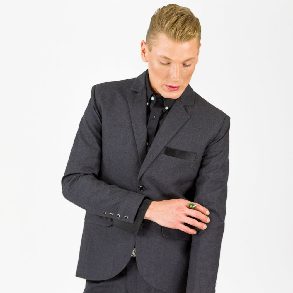 Bond SmartSuit | Jacket | Charcoal & Black Satin
