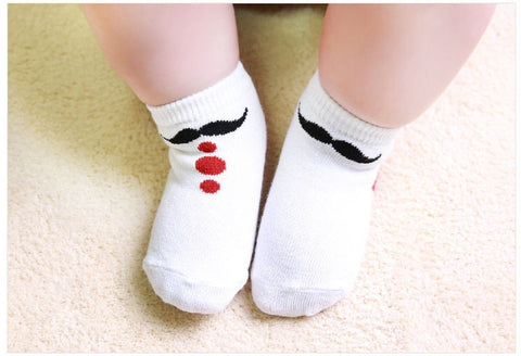 Six pack Newborn/Infant non skid Mustache Socks