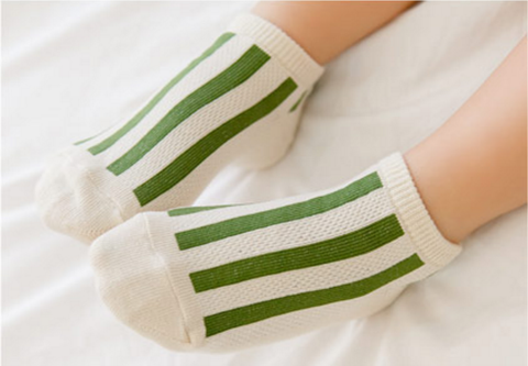Mesh Non-Skid Ankle Socks- Stripe Green