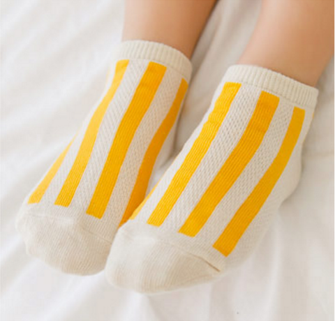 Mesh Ankle Socks- Stripe Yellow