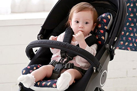 Bebenuvo 3D Air Mesh & Microfiber 4 Seasons Double Seat Liner For Carseat & Stroller - Navy Kitty