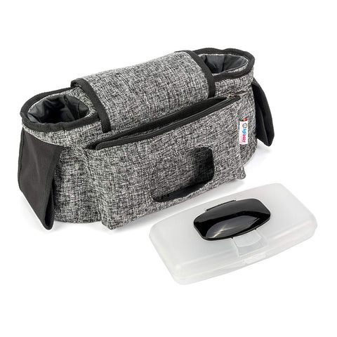 Best Stroller Organizer for Moms, Insulated Deep Cup Holders, Instant Access Wipe Pocket, Universal Velcro Strap Fit, Large Storage Space for Diapers & Phone