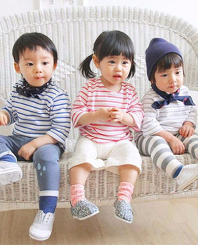 Agibaby Kkakkungnoriter Boys and Girls Baby 3/4 Sleeves  Stripes Shirt Made in South Korea