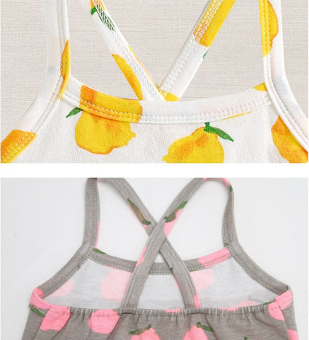 Girls Fruit Cotton Top Sleeveless Tshirt