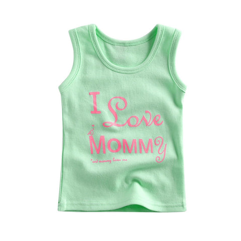 Unisex Cotton I love mommy & I love Daddy Sleeveless Tshirt