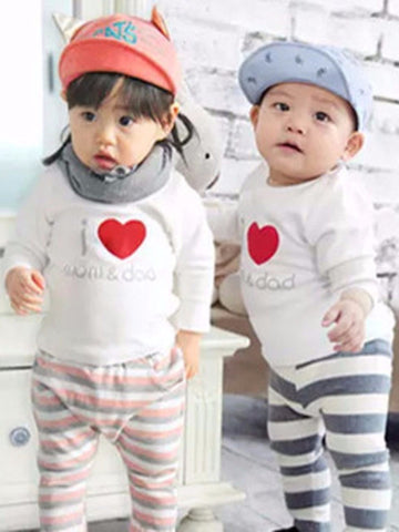 "Agibaby Boys and Girls Baby Long Sleeve T-shirt ""I love Mom&Dad"""