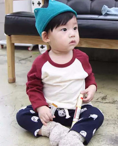 Agibaby Kkkakkungnoriter Boys & Girls Baby Long Sleeve  Baseball Shirt- Made in South Korea