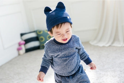 Agibaby Kkakkungnoriter Organic cotton beanie hat for baby - blue- made in South Korea