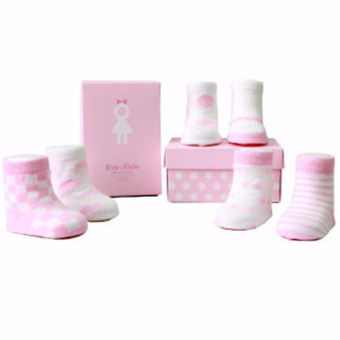 Six pack Newborn/Infant non skid Pink Socks