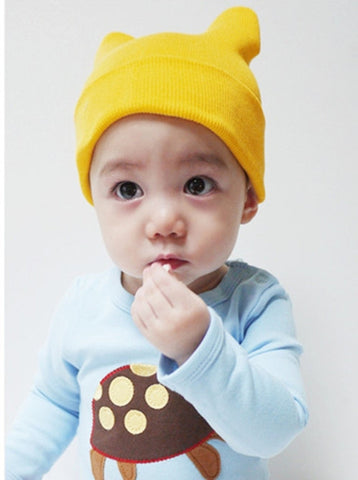 Agibaby Kkakkungnoriter Organic cotton beanie hat for baby - yellow- made in South Korea