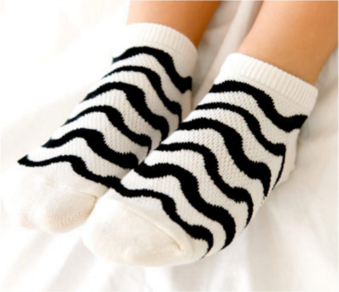 Mesh Ankle Socks- Wave White
