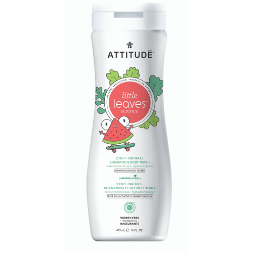 Shampoo & gel de baño natural LITTLE LEAVES - Sandia y Coco (473ml)