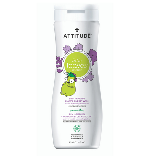 Shampoo & gel de baño natural LITTLE LEAVES - Vainilla y Pera (473ml)