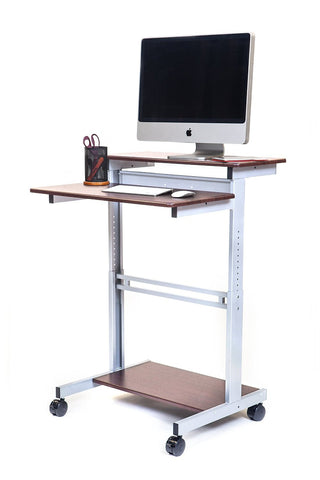 "32"" Mobile Ergonomic Stand up Desk Computer Workstation"
