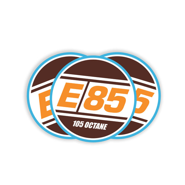 Round E85 Decal - Orange 3""