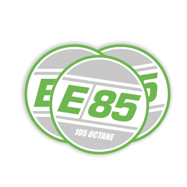 Round E85 Decal - Green 3""