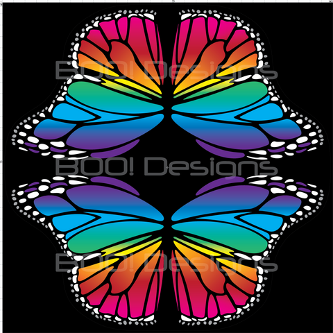 Spandex Butterfly Wings Rainbow Large