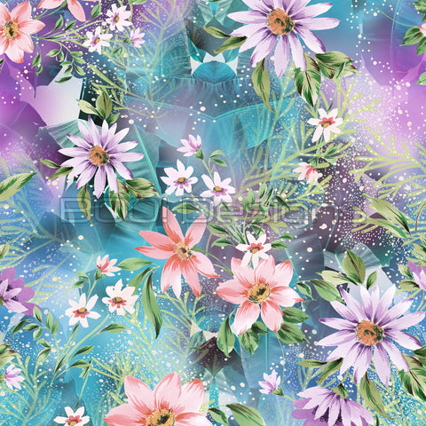 Spandex Illuminated Gardens Teal