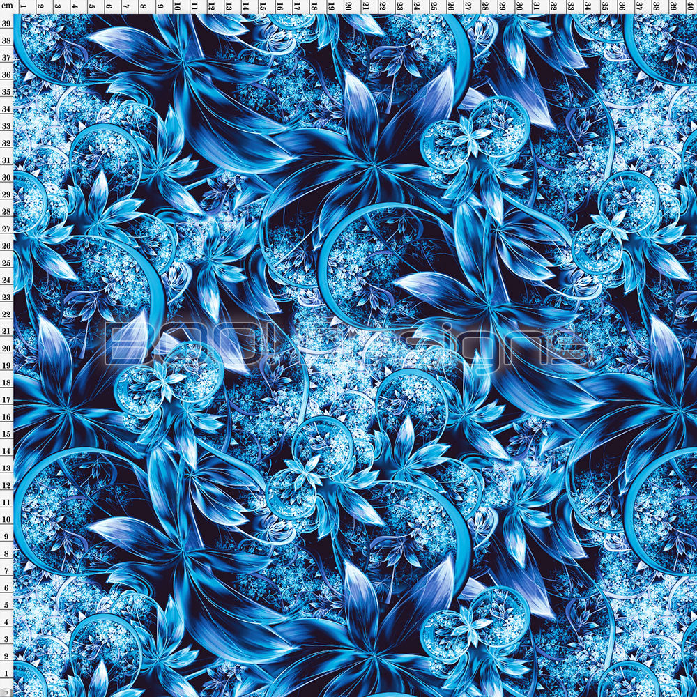 Spandex Enchanted Garden Blue