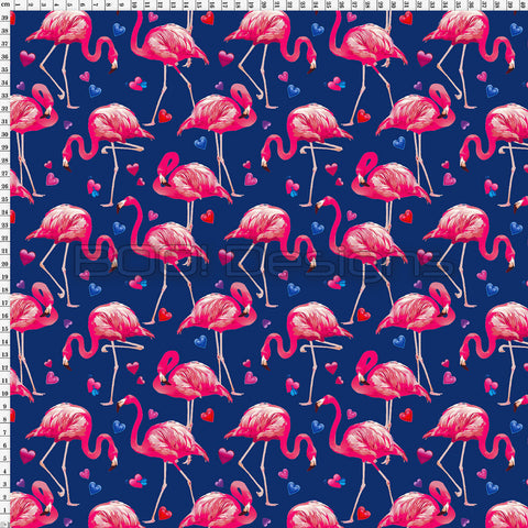Spandex Flamingo Love Navy