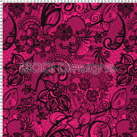 Spandex Ornamental Lace Pink