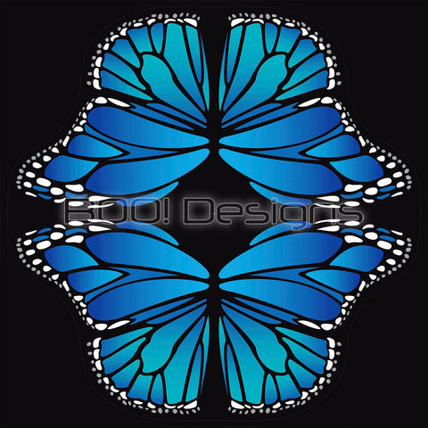 Spandex Glitter Circle Panel Wings Blue Large