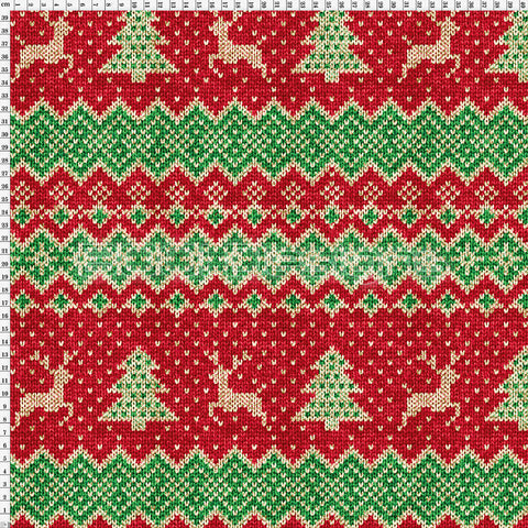 Spandex Fairisle Reindeer Red