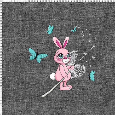 Spandex Panel Dandelion Bunny Black Denim