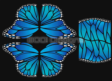 Spandex Glitter Circle Panel Wings Blue Regular