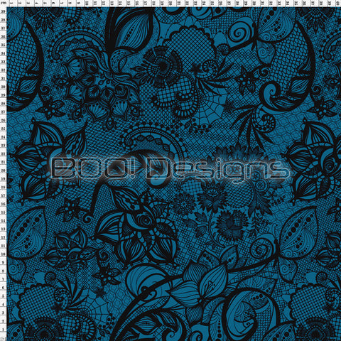 Spandex Ornamental Lace Teal