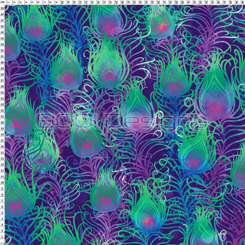 Spandex Print Velvet Peacock Feathers Purple