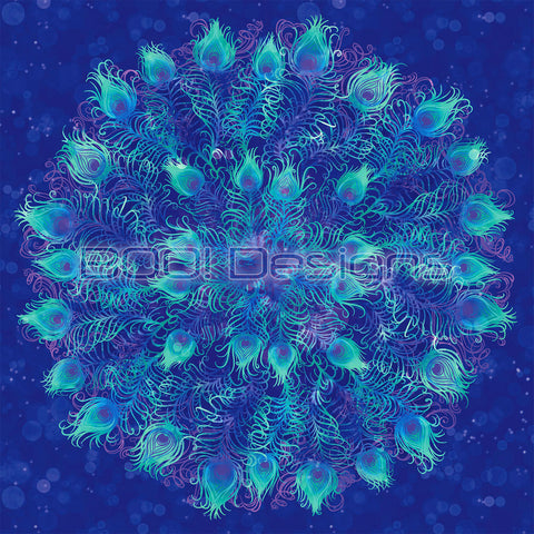 Spandex Glitter Peacock Panel Blue Small