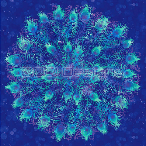 Spandex Glitter Peacock Panel Blue Large