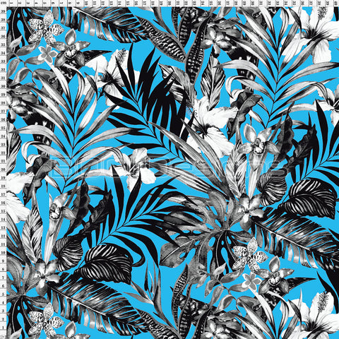 Spandex Jungle Palm Blue