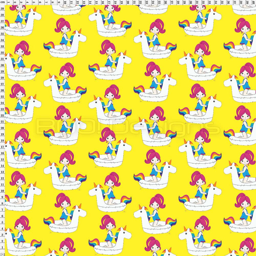 Spandex Unicorn Float Allover Yellow