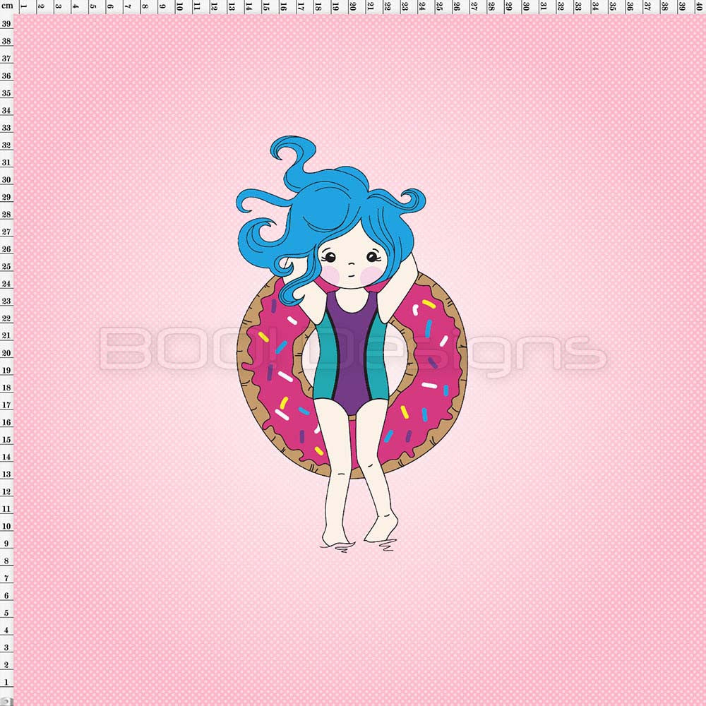 Spandex Panel Donut Float Pink