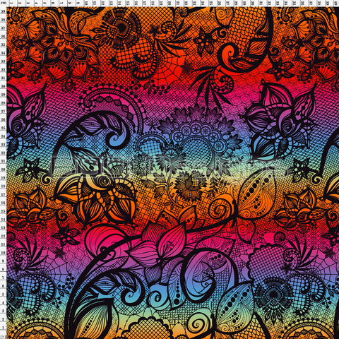 Spandex Ornamental Lace Black Rainbow