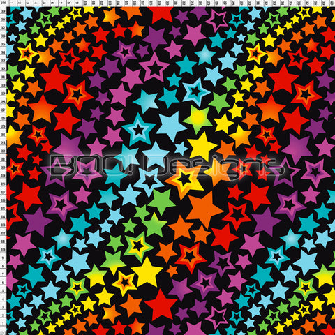 Spandex Rainbow Star Black