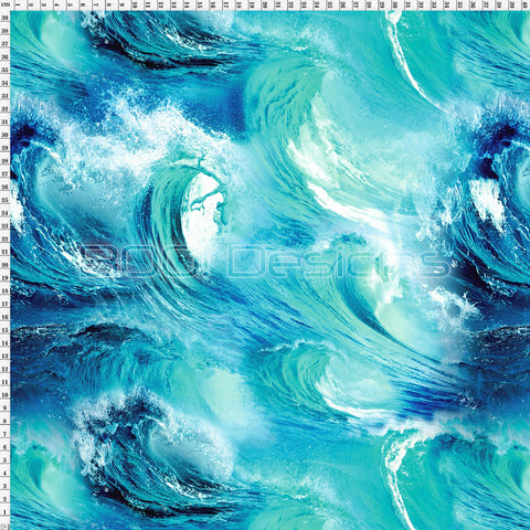 Spandex Waves Teal