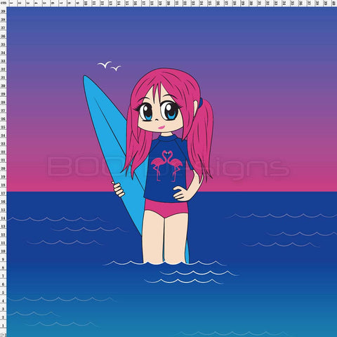 Spandex Panel Flamingo Surfer