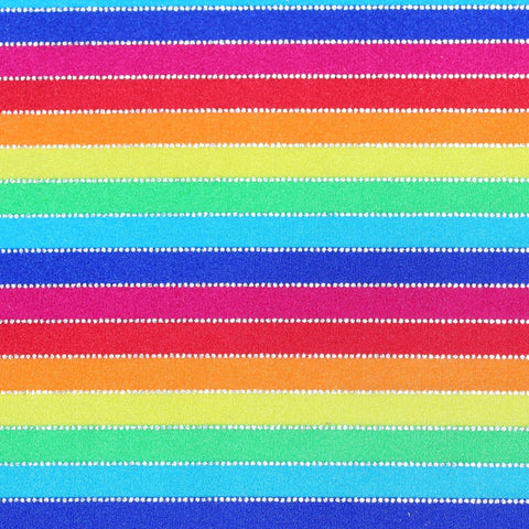 Spandex Metallic Rainbow Stripe