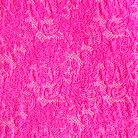 Spandex Stretch Lace Neon Pink
