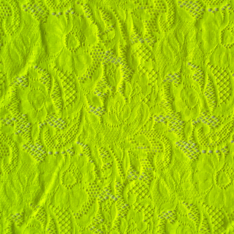 Spandex Stretch Lace Neon Yellow