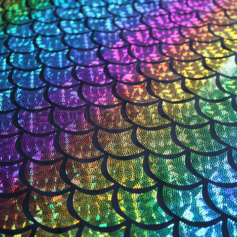Spandex Metallic Mermaid Rainbow Black